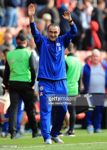 Maurizio Sarri manager of Chelsea celebrates after the win during the Premier League match between Southampton FC and Chelsea FC at St Mary's Stadium...