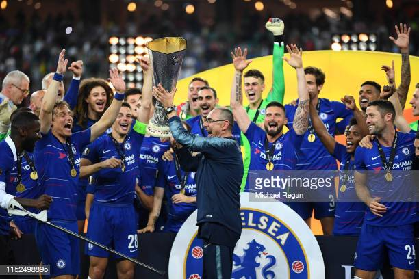 Maurizio Sarri Manager of Chelsea celebrates with the Europa League Trophy following his team's victory in the UEFA Europa League Final between...