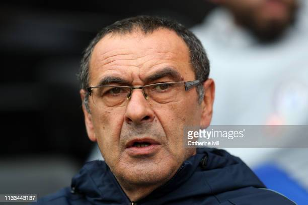 Maurizio Sarri manager of Chelsea during the Premier League match between Fulham FC and Chelsea FC at Craven Cottage on March 03 2019 in London...