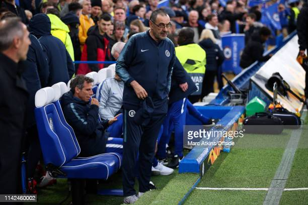 Maurizio Sarri manager of Chelsea during the UEFA Europa League Semi Final Second Leg match between Chelsea and Eintracht Frankfurt at Stamford...