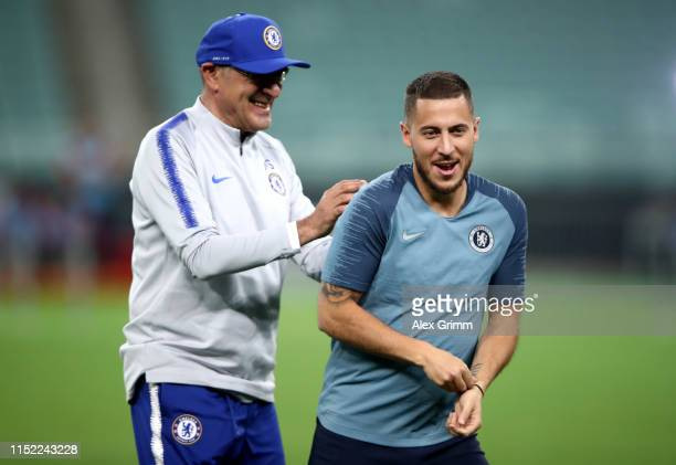 Maurizio Sarri Manager of Chelsea jokes with Eden Hazard of Chelsea during the Chelsea FC training session on the eve of the UEFA Europa League Final...