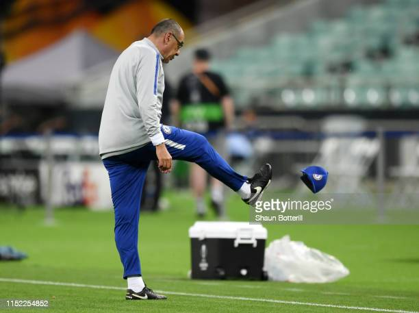 Maurizio Sarri Manager of Chelsea kicks his cap in frustration during the Chelsea FC training session on the eve of the UEFA Europa League Final...