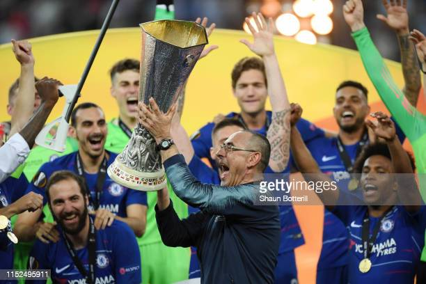Maurizio Sarri, Manager of Chelsea lifts the Europa League Trophy following his team's victory in the UEFA Europa League Final between Chelsea and...