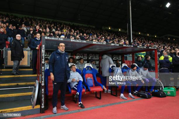 Maurizio Sarri manager of Chelsea look on from the dugout during the Premier League match between Crystal Palace and Chelsea FC at Selhurst Park on...