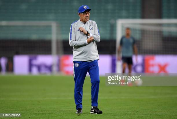 Maurizio Sarri Manager of Chelsea looks on during the Chelsea FC training session on the eve of the UEFA Europa League Final against Arsenal at Baku...