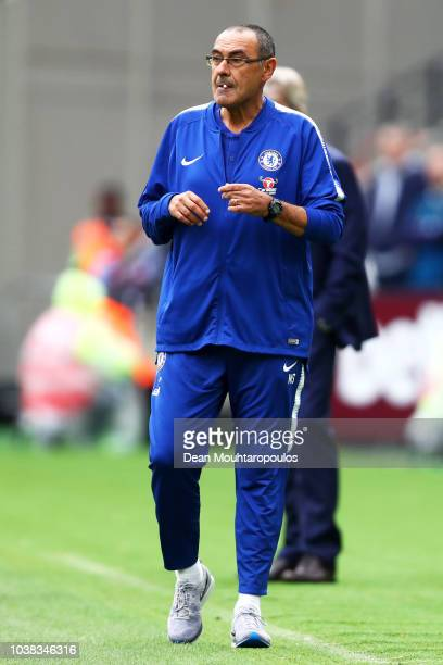 Maurizio Sarri Manager of Chelsea looks on during the Premier League match between West Ham United and Chelsea FC at London Stadium on September 23...