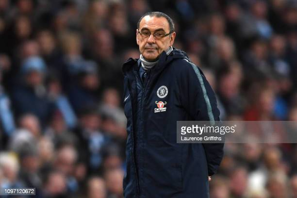 Maurizio Sarri Manager of Chelsea looks on during the Premier League match between Manchester City and Chelsea FC at Etihad Stadium on February 10...