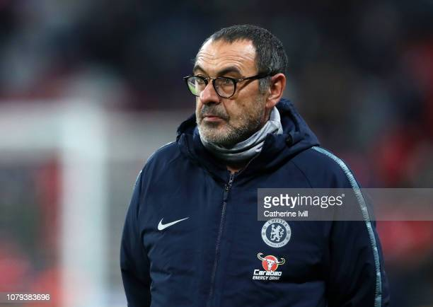 Maurizio Sarri Manager of Chelsea looks on during the warm up ahead of the Carabao Cup SemiFinal First Leg match between Tottenham Hotspur and...