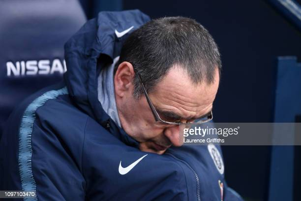 Maurizio Sarri Manager of Chelsea looks on prior to the Premier League match between Manchester City and Chelsea FC at Etihad Stadium on February 10...