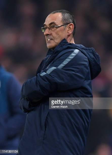 Maurizio Sarri Manager of Chelsea looks on prior to the Premier League match between Chelsea FC and West Ham United at Stamford Bridge on April 08...