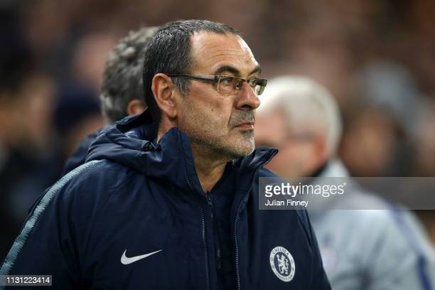 Maurizio Sarri Manager of Chelsea looks on prior to the UEFA Europa League Round of 32 Second Leg match between Chelsea and Malmo FF at Stamford...