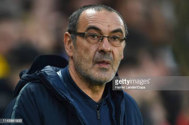 Maurizio Sarri Manager of Chelsea looks on prior to the UEFA Europa League Quarter Final Second Leg match between Chelsea and Slavia Praha at...