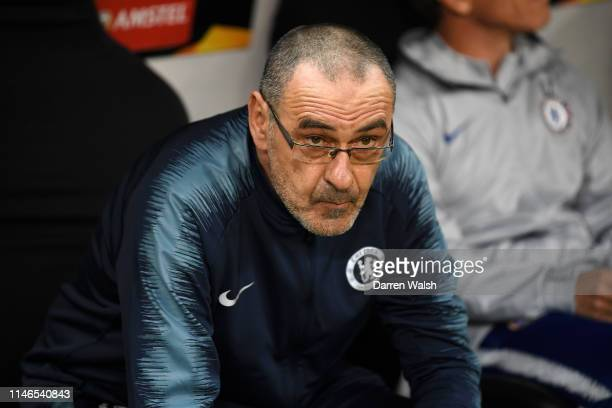 Maurizio Sarri Manager of Chelsea looks on prior to the UEFA Europa League Semi Final First Leg match between Eintracht Frankfurt and Chelsea at...