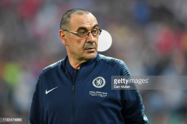 Maurizio Sarri Manager of Chelsea looks on prior to the UEFA Europa League Final between Chelsea and Arsenal at Baku Olimpiya Stadionu on May 29 2019...