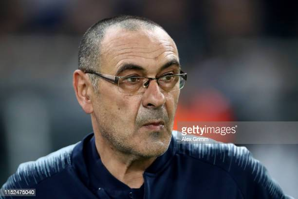 Maurizio Sarri, Manager of Chelsea looks on prior to the UEFA Europa League Final between Chelsea and Arsenal at Baku Olimpiya Stadionu on May 29,...