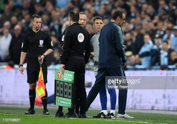 Maurizio Sarri Manager of Chelsea reacts as Kepa Arrizabalaga of Chelsea refuses to be substituted during the Carabao Cup Final between Chelsea and...