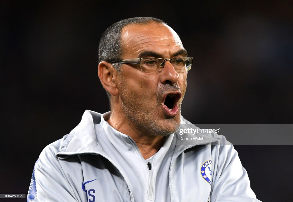 Maurizio Sarri, Manager of Chelsea reacts during the international friendly between Chelsea FC and Perth Glory at Optus Stadium on July 23, 2018 in Perth, Australia.