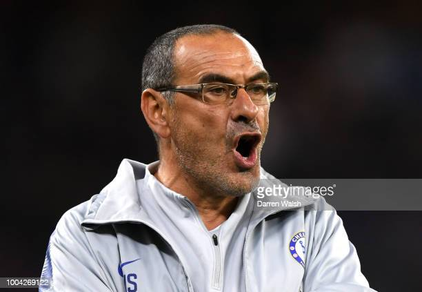 Maurizio Sarri Manager of Chelsea reacts during the international friendly between Chelsea FC and Perth Glory at Optus Stadium on July 23 2018 in...