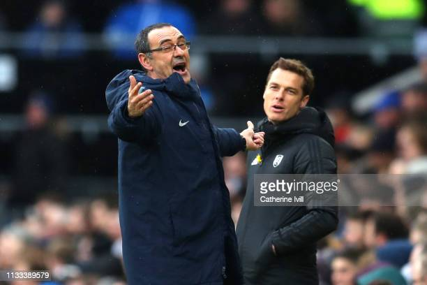 Maurizio Sarri Manager of Chelsea reacts during the Premier League match between Fulham FC and Chelsea FC at Craven Cottage on March 03 2019 in...