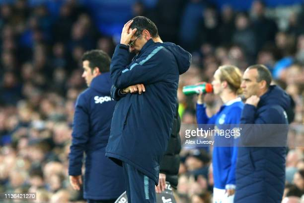 Maurizio Sarri manager of Chelsea reacts during the Premier League match between Everton FC and Chelsea FC at Goodison Park on March 17 2019 in...