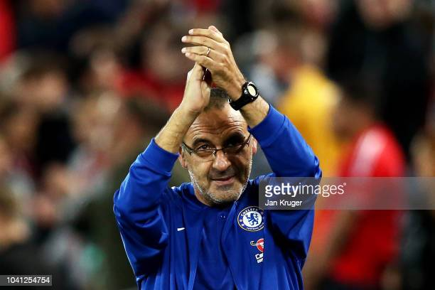 Maurizio Sarri Manager of Chelsea shows appreciation to the fans after the Carabao Cup Third Round match between Liverpool and Chelsea at Anfield on...