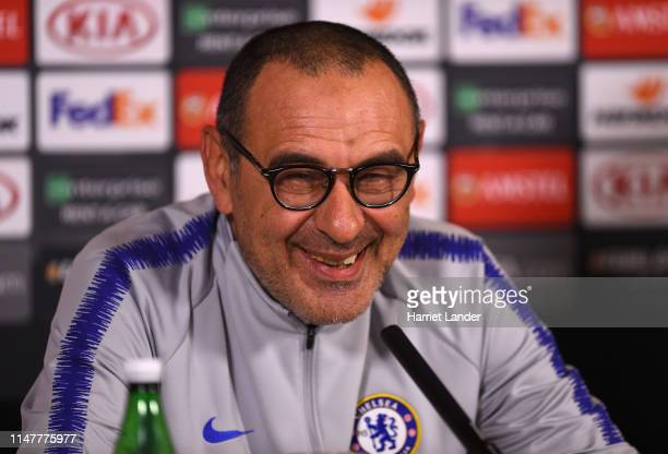 Maurizio Sarri Manager of Chelsea smiles during a Chelsea press conference on the eve of their UEFA Europa Leageu semi final against Eintracht...