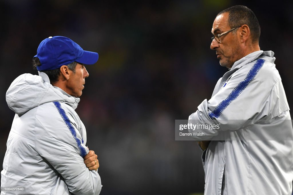 Maurizio Sarri, Manager of Chelsea speaks with assistant coach, Gianfranco Zola during the international friendly between Chelsea FC and Perth Glory at Optus Stadium on July 23, 2018 in Perth, Australia.