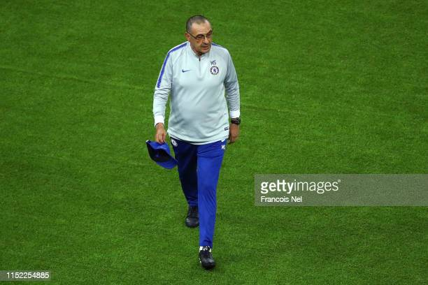 Maurizio Sarri Manager of Chelsea walks off the pitch during the Chelsea FC training session on the eve of the UEFA Europa League Final against...