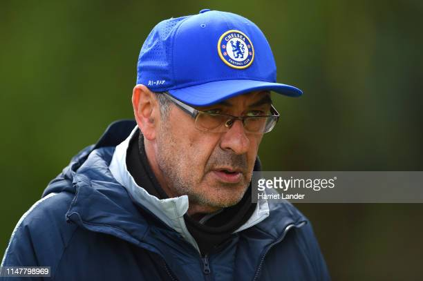 Maurizio Sarri, Manager of Chelsea walks out to the Chelsea Training Session on the eve of their UEFA Europa League semi final against Eintracht...