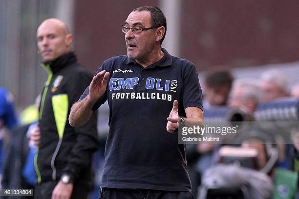 Maurizio Sarri manager of Empoli FC gives instructions during the Serie A match between UC Sampdoria and Empoli FC at Stadio Luigi Ferraris on...
