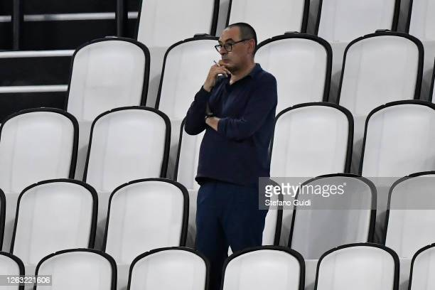 Maurizio Sarri, manager of Juventus FC, watches the Serie A match between Juventus and AS Roma at Allianz Stadium on August 1, 2020 in Turin, Italy.