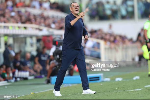 Maurizio Sarri manager of Juventus gestures during the Serie A match between ACF Fiorentina and Juventus at Stadio Artemio Franchi on September 14...