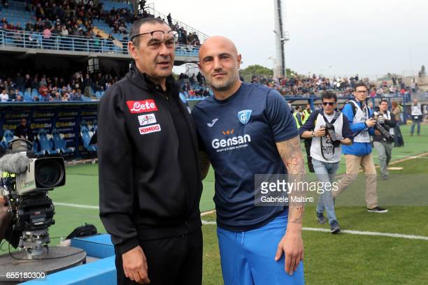 Maurizio Sarri manager of SSC Napoli and Massimo Maccarone of Empoli Fc during the Serie A match between Empoli FC and SSC Napoli at Stadio Carlo...