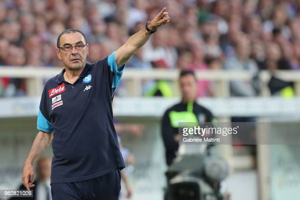 Maurizio Sarri manager of SSC Napoli gestures during the serie A match between ACF Fiorentina and SSC Napoli at Stadio Artemio Franchi on April 29...