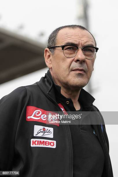 Maurizio Sarri manager of SSC Napoli looks on during the Serie A match between Empoli FC and SSC Napoli at Stadio Carlo Castellani on March 19 2017...
