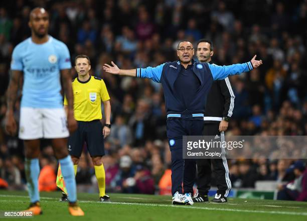 Maurizio Sarri manager of SSC Napoli reacts during the UEFA Champions League group F match between Manchester City and SSC Napoli at Etihad Stadium...