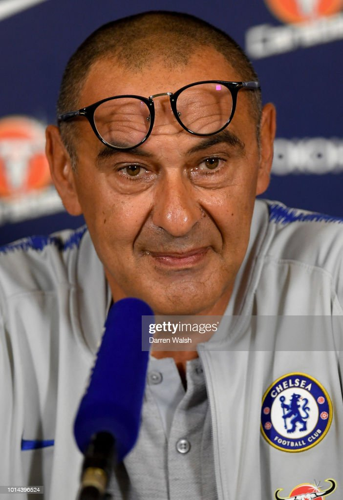 Maurizio Sarri of Chelsea during a press conference at Chelsea Training Ground on August 10, 2018 in Cobham, England.