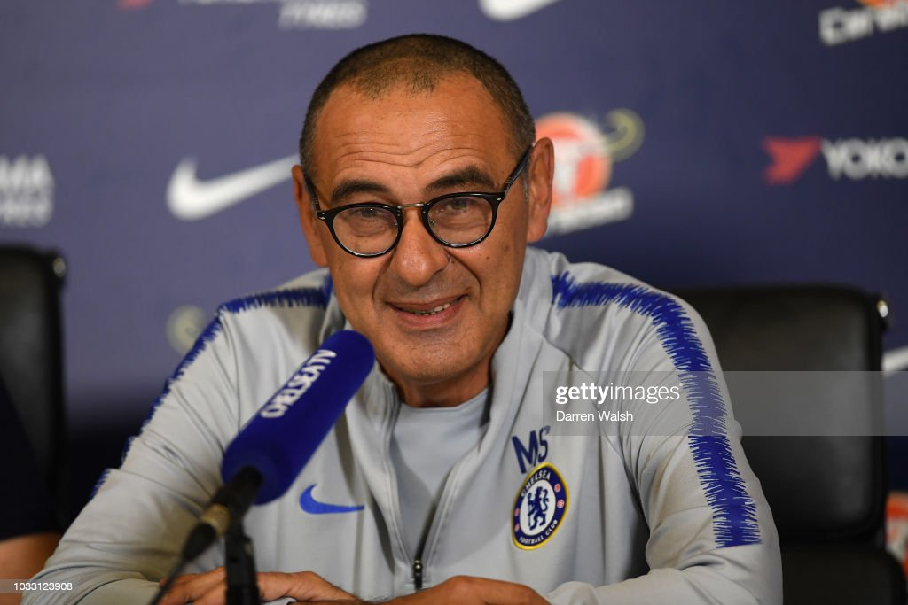 Maurizio Sarri of Chelsea during a press conference at Chelsea Training Ground on September 14, 2018 in Cobham, England.