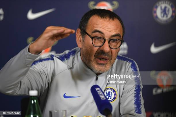 Maurizio Sarri of Chelsea during a press conference at Chelsea Training Ground on January 7 2019 in Cobham England