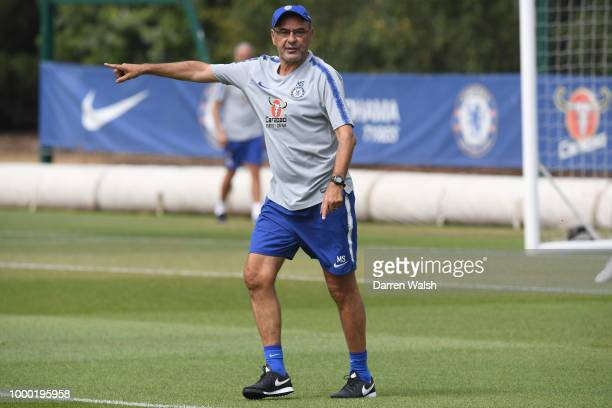 Maurizio Sarri of Chelsea during a training session at Chelsea Training Ground on July 16 2018 in Cobham England