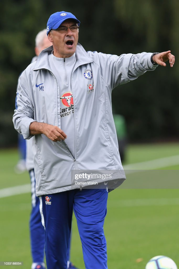 Maurizio Sarri of Chelsea during a training session at Chelsea Training Ground on September 14, 2018 in Cobham, England.