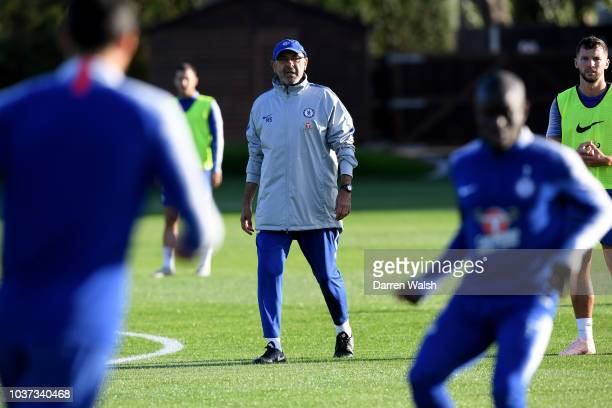 Maurizio Sarri of Chelsea during a training session at Chelsea Training Ground on September 21 2018 in Cobham England
