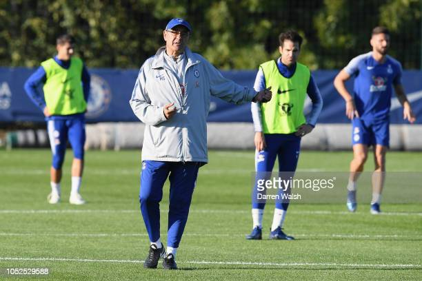 Maurizio Sarri of Chelsea during a training session at Chelsea Training Ground on October 19 2018 in Cobham England