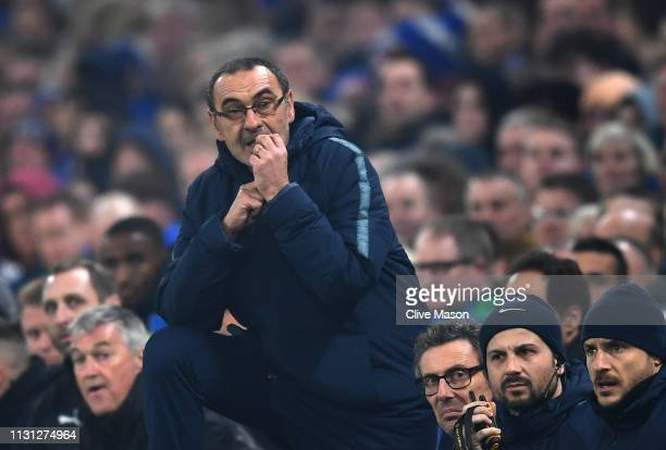Maurizio Sarri of Chelsea looks on during the UEFA Europa League Round of 32 Second Leg match between Chelsea and Malmo FF at Stamford Bridge on...