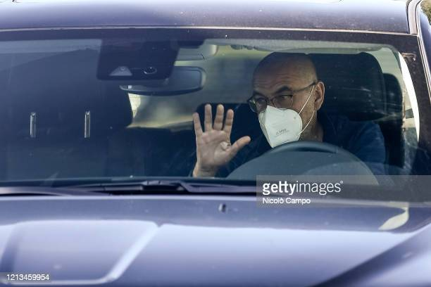 Maurizio Sarri of Juventus FC wearing a face mask arrives by car to the Continassa training ground to attend a training session Serie A plans to...