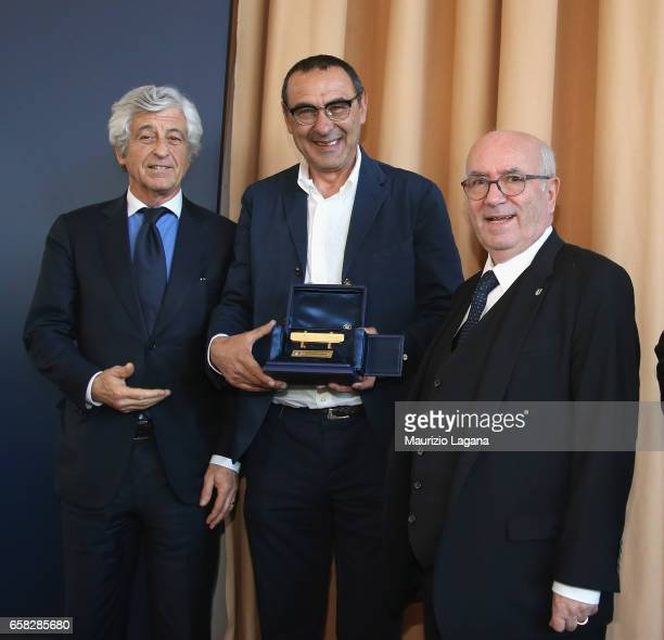 Maurizio Sarri receives the Panchina D'Oro Prize during Italian Football Federation 'Panchine D'Oro E D'Argento' Prize in the pictture with Gianni...