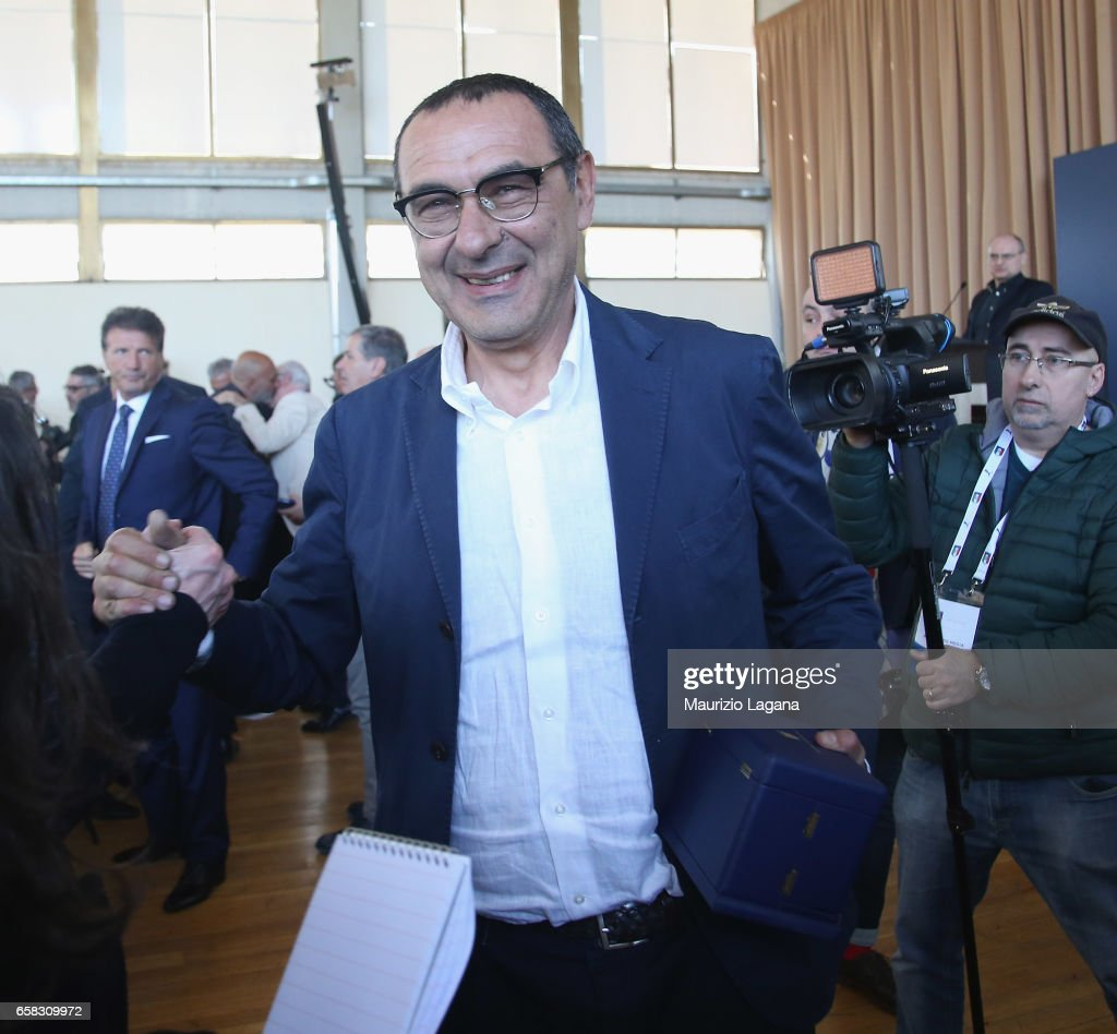 Maurizio Sarri receives the Panchina D'Oro Prize during Italian Football Federation 'Panchine D'Oro E D'Argento' Prize at Coverciano on March 27, 2017 in Florence, Italy.