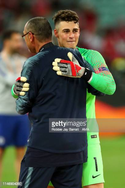 Maurizio Sarri the head coach / manager of Chelsea and Kepa Arrizabalaga of Chelsea during the UEFA Europa League Final between Chelsea and Arsenal...