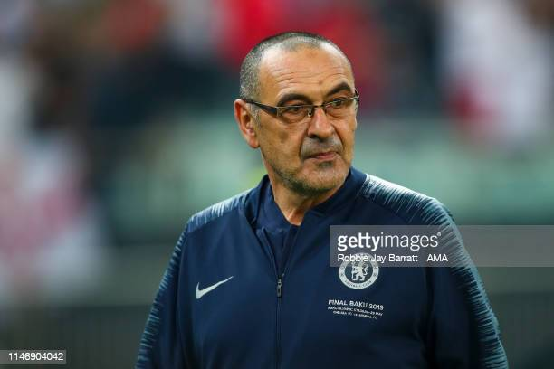 Maurizio Sarri the head coach / manager of Chelsea during the UEFA Europa League Final between Chelsea and Arsenal at Baku Olimpiya Stadionu on May...