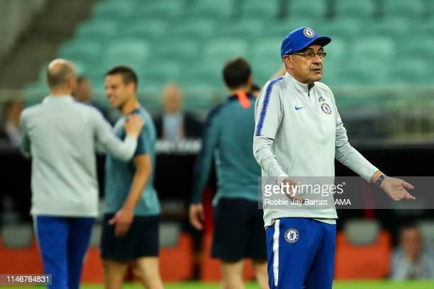 Maurizio Sarri the head coach / manager of Chelsea reacts during the Chelsea training session prior to the UEFA Europa League Final between Chelsea...